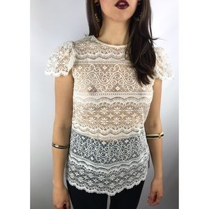 1970s cream lace cap sleeve custom tailored shirt